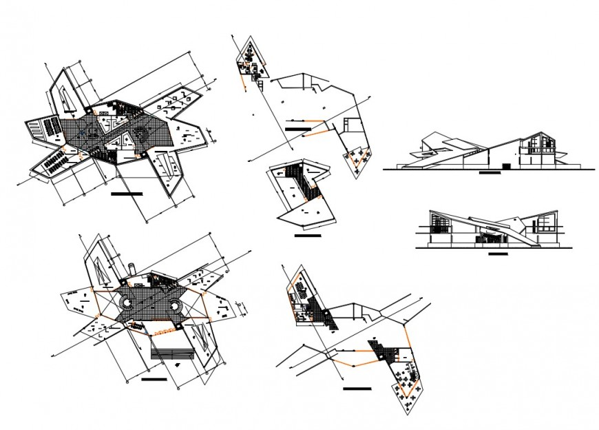 Museum of modern art-elevation, section and floor plan details dwg file