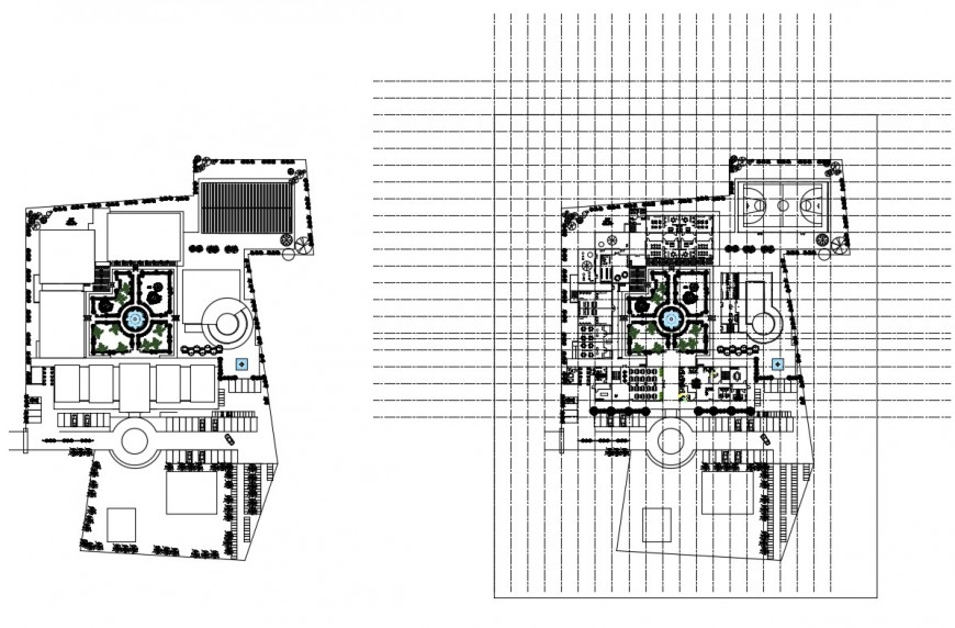 Music school center distribution plan and landscaping structure details dwg file