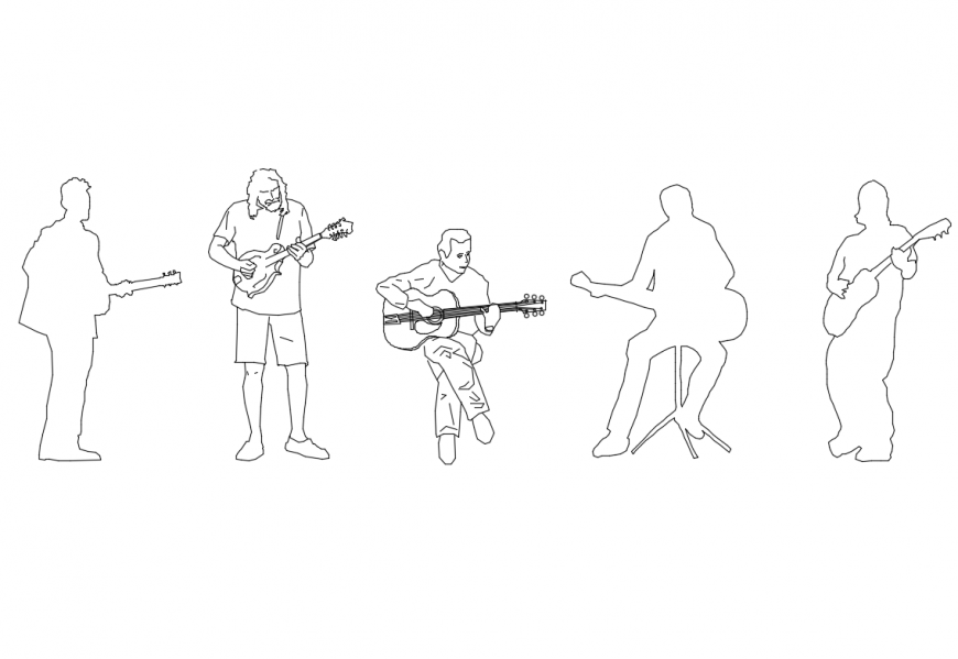 Musician people posing multiple cad block details dwg file