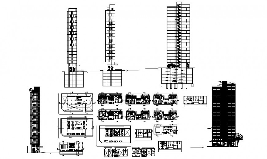 Muti-story high riser building units drawings details elevation plan and section dwg file