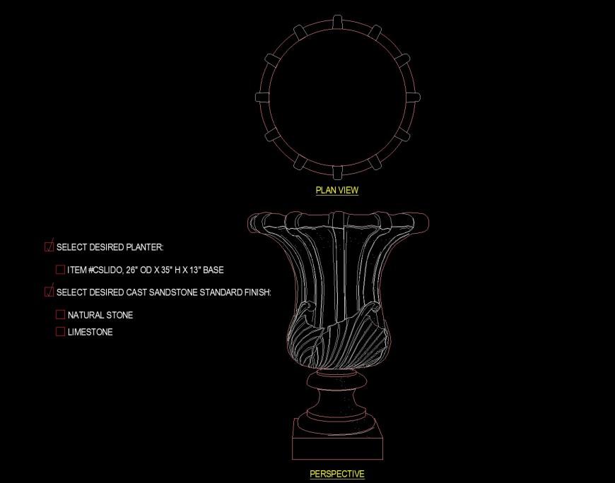 Narrow lamp type pedestal planter drawing in dwg file.