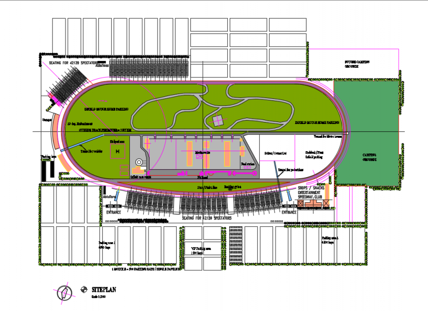 Nasa race track site plan layout and structure cad drawing details dwg file