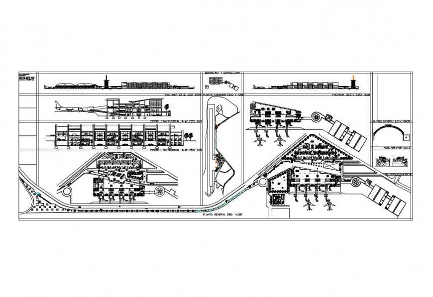 National airport building elevation, section and plan details dwg file
