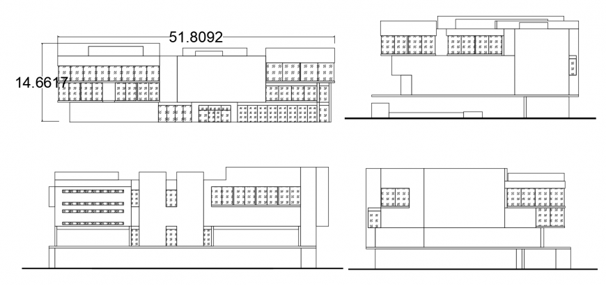 National library all four sided elevation drawing details dwg file