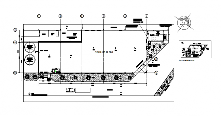 Nave industrial plant architecture layout plan details dwg file
