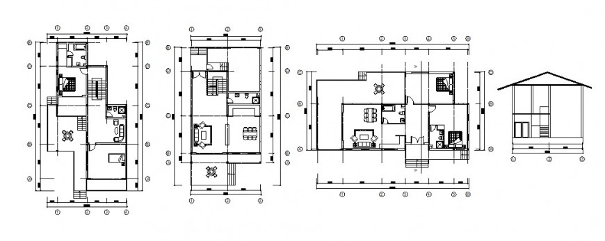 New house main section and floor plan cad drawing details dwg file