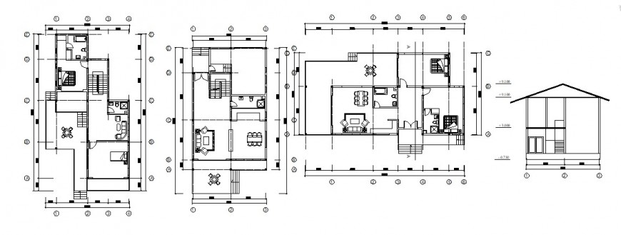 New house section, layout plan and floor plan cad drawing details dwg file