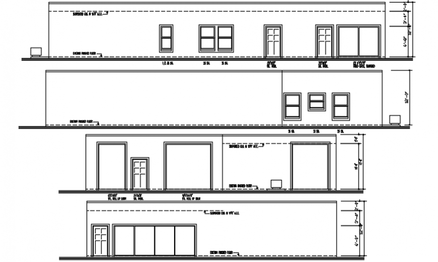 New office building all sided elevation cad drawing details dwg file