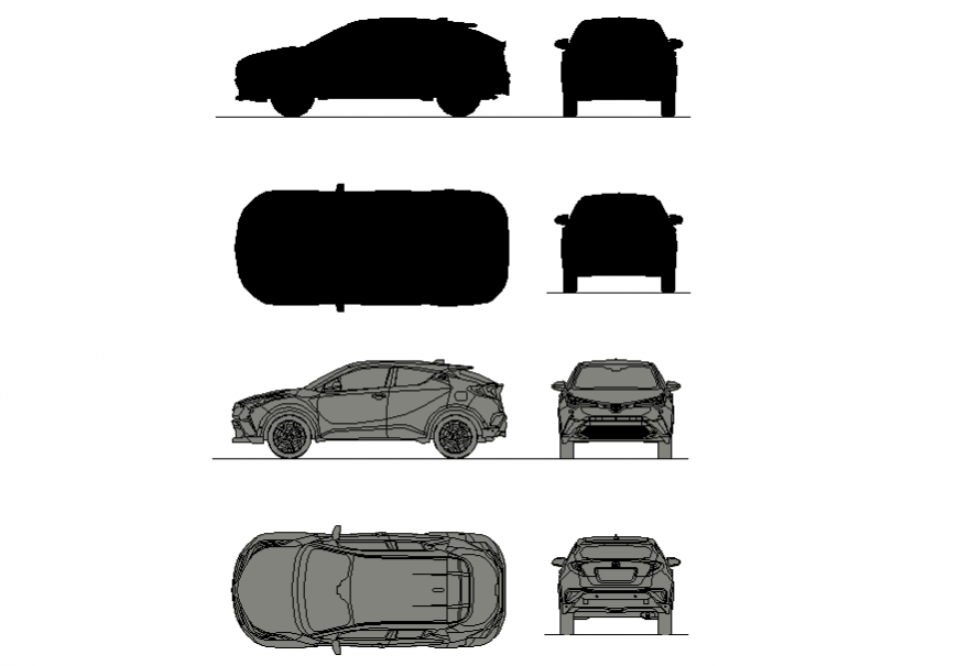 New Toyota car elevation detail dwg file
