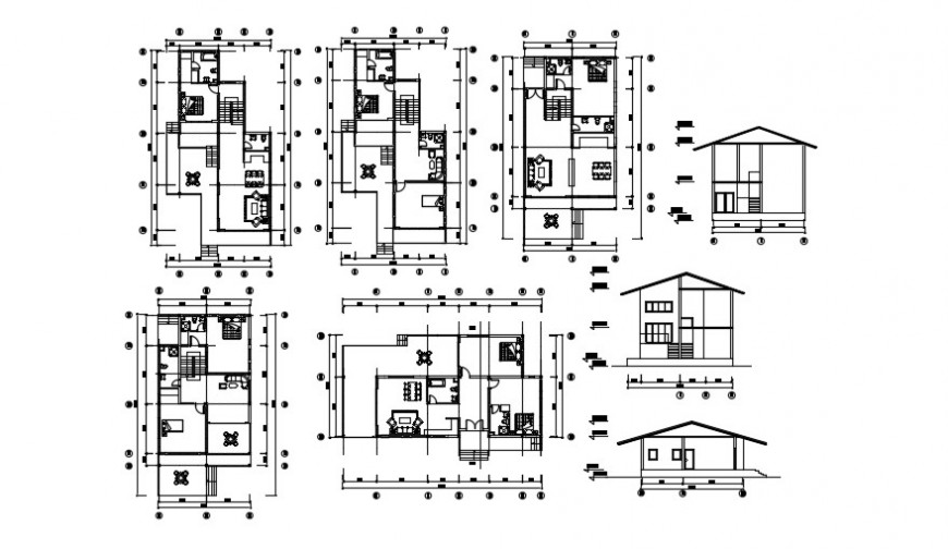 New two level house elevation, section and floor plan drawing derails dwg file