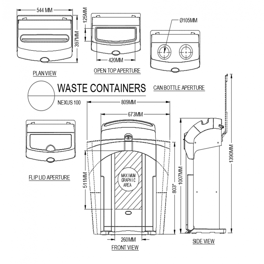 Nexus waste container plan,front and side view dwg file