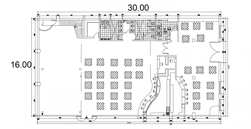 Night club bar distribution plan with furniture drawing details dwg file