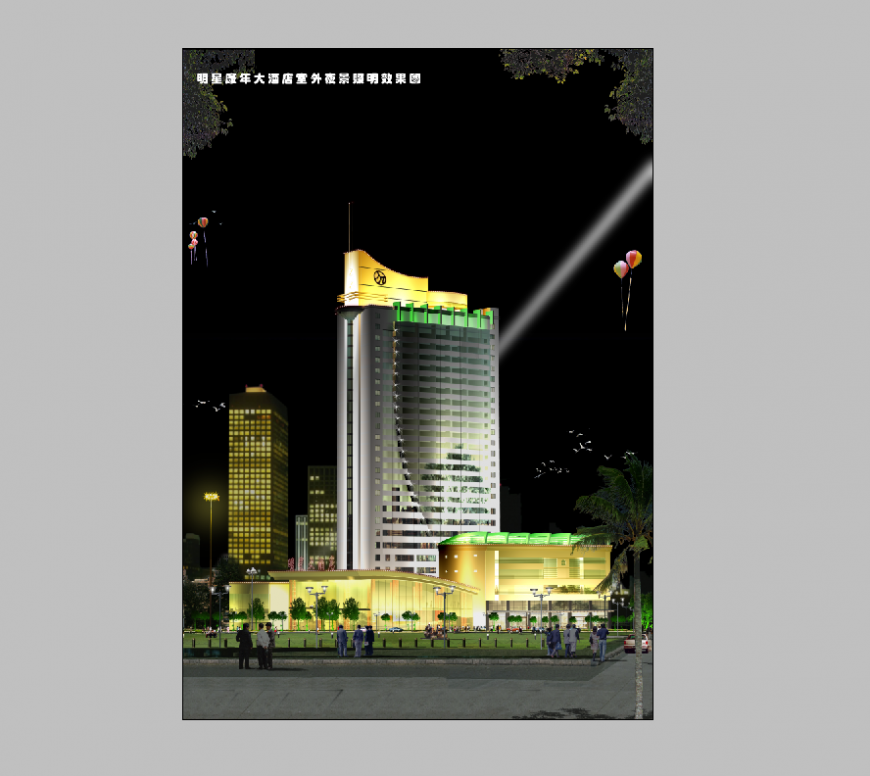 Night scenario commercial building 3d model detail elevation layout PSD file