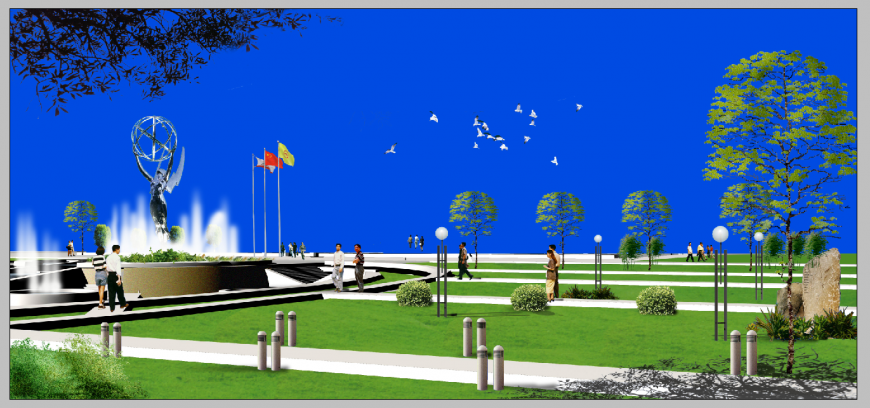 Night time park detail 3d model elevation photo shop file