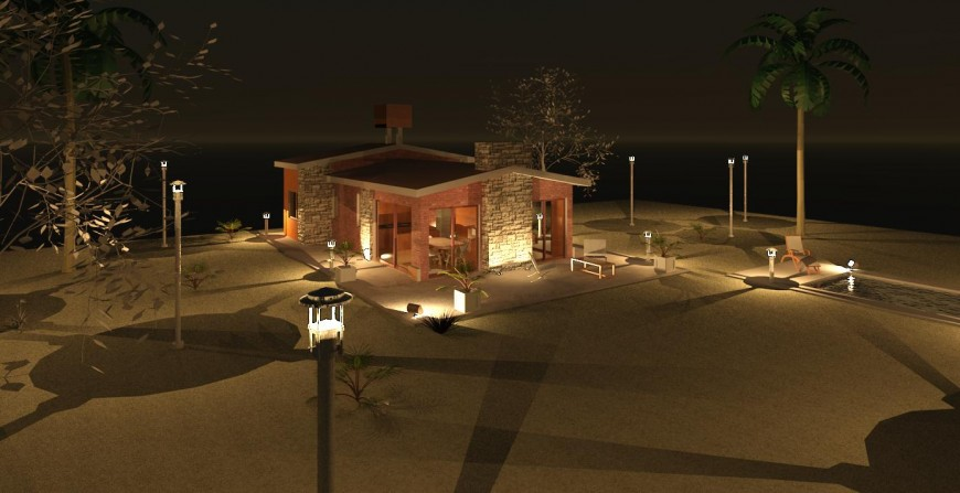 Night view of beautiful beach house 3d model cad drawing details jpg file