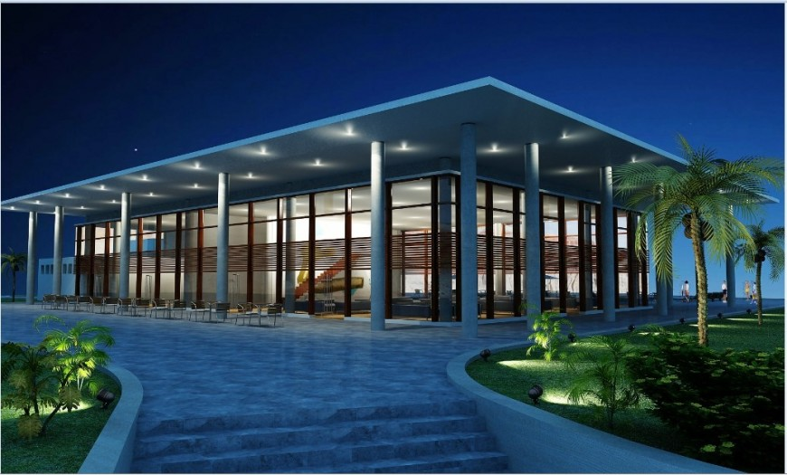 Night view of luxuries villa 3d model cad drawing details jpg file