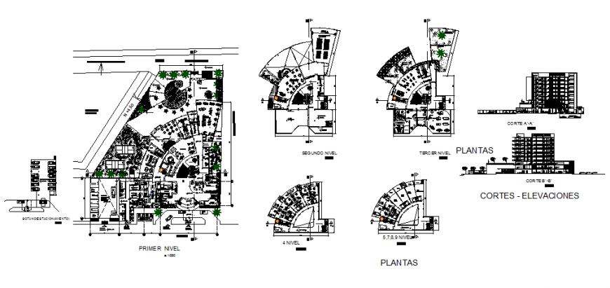 Nine flooring five star hotel sections and all floor plan layout details dwg file