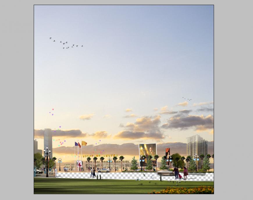 Noon scenario of park elevation detail 3d model PSD file