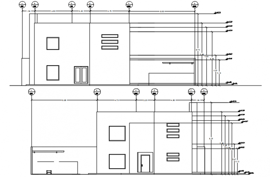 North  side elevation of housing in AutoCAD file