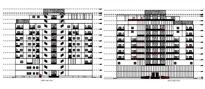 North and south elevation drawing details of multi-story apartment building dwg file