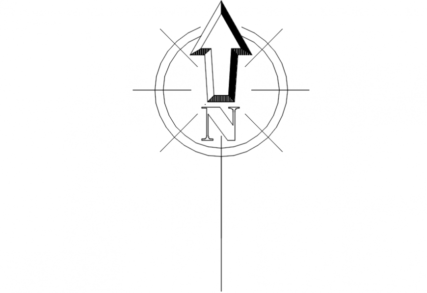 North arrow showing direction block cad drawing details dwg file