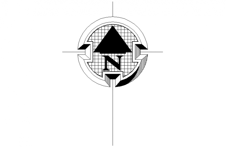 North showing direction symbol block cad drawing details dwg file