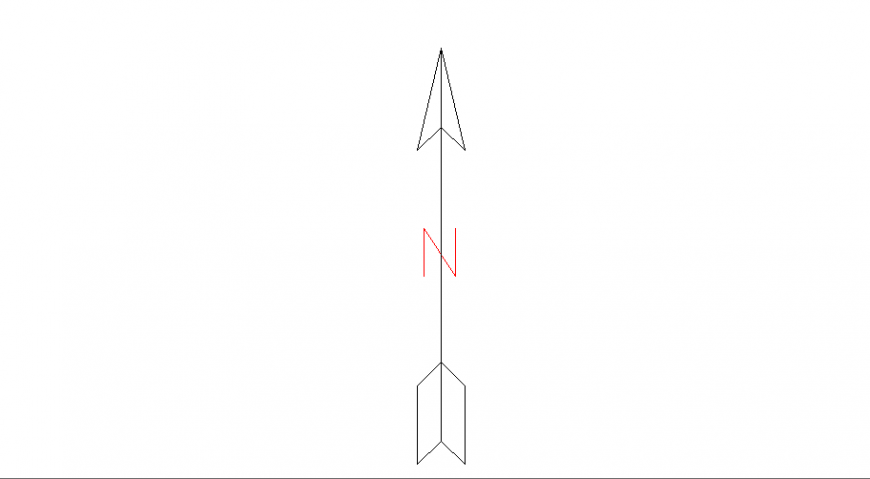 North side arrow direction block dwg file