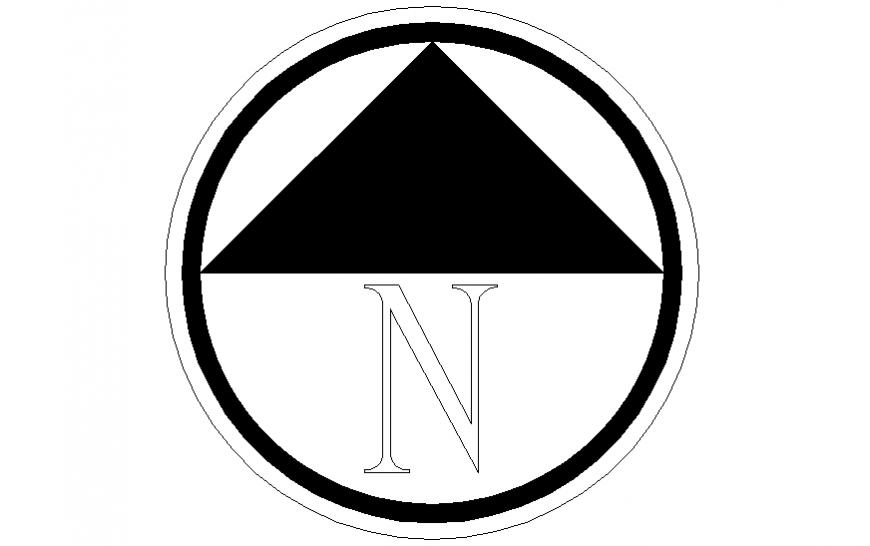 North side direction block elevation symbol cad block details dwg file