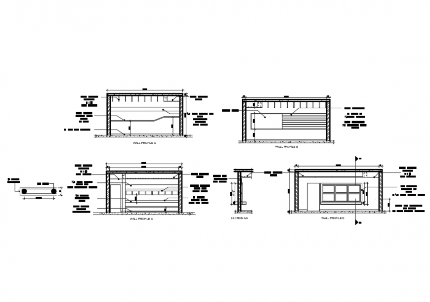 Nursing home bio-climatic sustainable wall profile and sectional details dwg file
