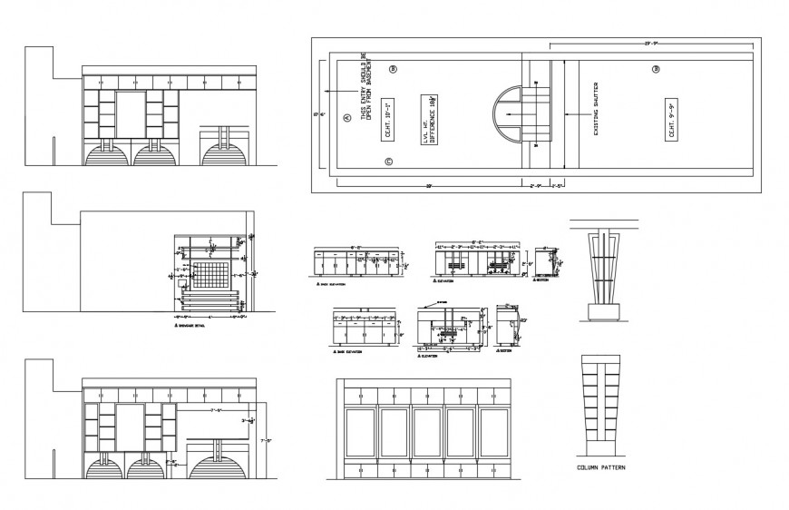 Nutan garment shop elevation, section, plan and auto-cad drawing details dwg file