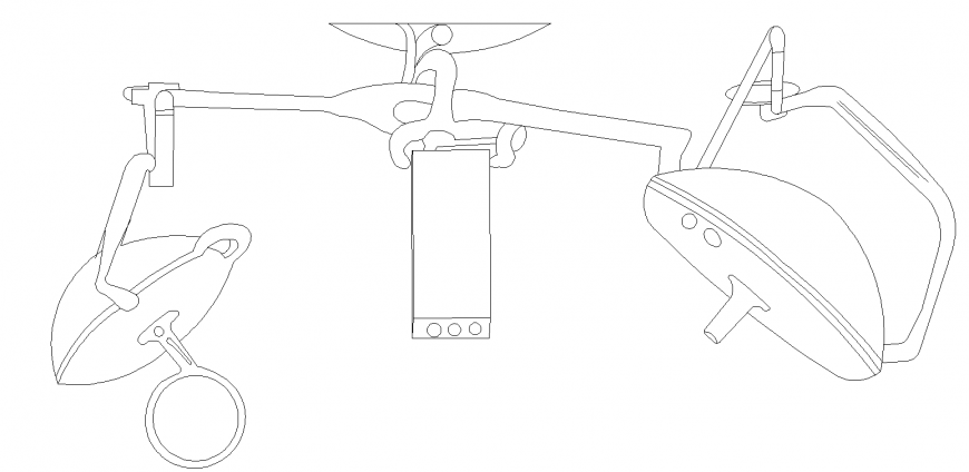 O.T equipment lighting arm detail drawing in dwg AutoCAD file.
