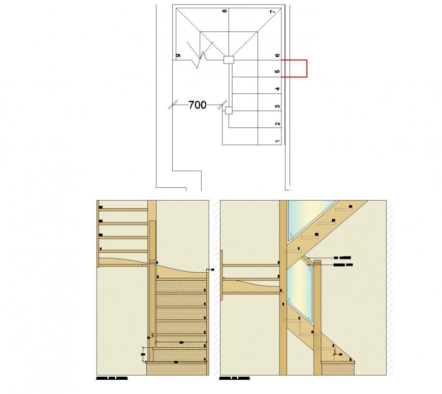 Oak staircase design plan autocad file
