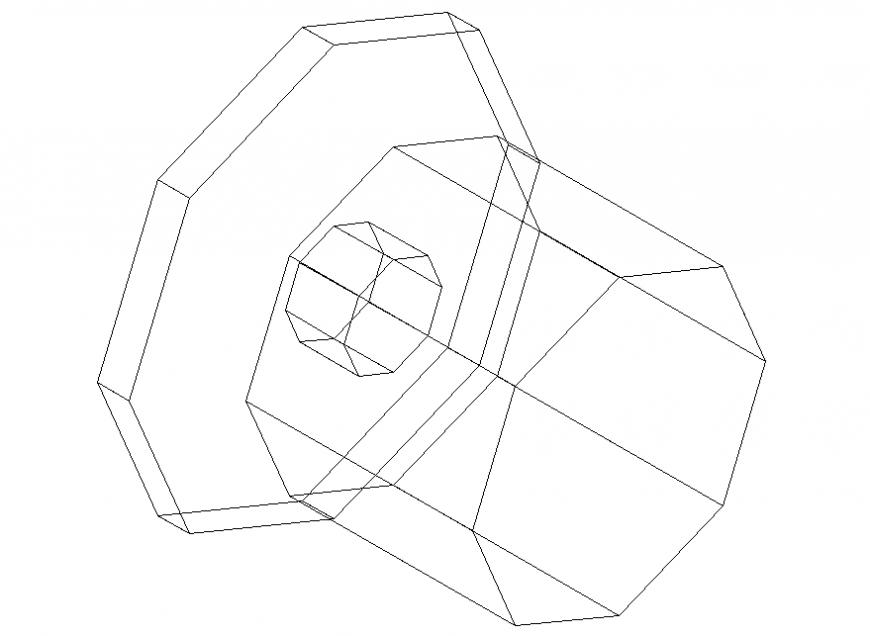 Octagon door handle cad block 2 d plan autocad file