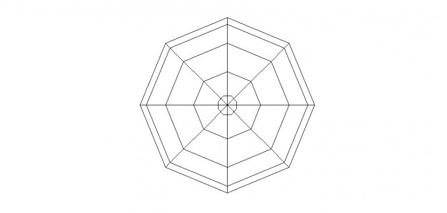 Octagonal shape design detail 2d view layout file in autocad format