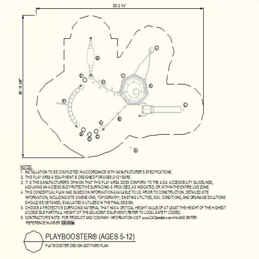 Octagonal shape park plan dwg file