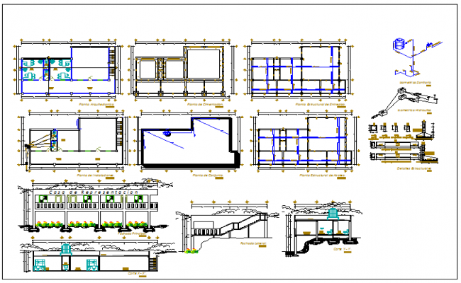 office building detail plan view at hill topography dwg file