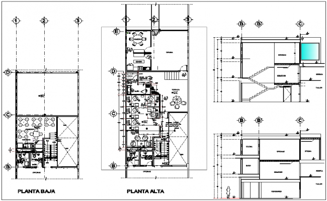 Plan Vs Elevation And Section : Office plan view elevation and section detail dwg file