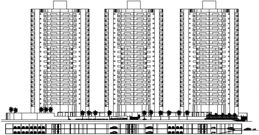 Office 2d elevation details with car parking