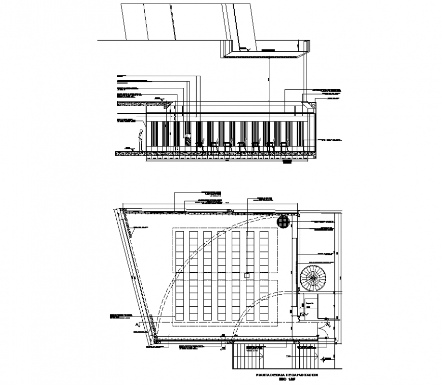 Office acoustic insulation detail plan and section autocad file