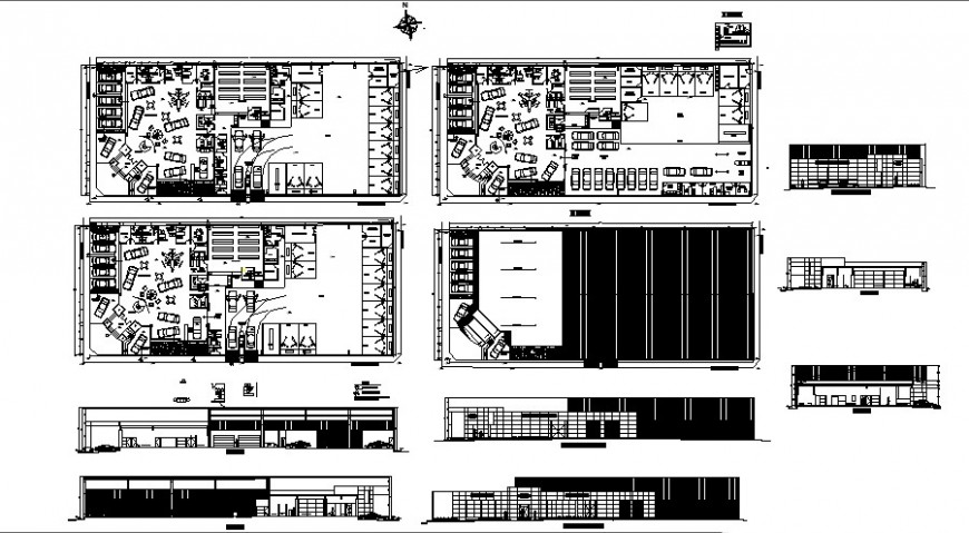 Office area of automobiles agencies plan and elevation in auto cad