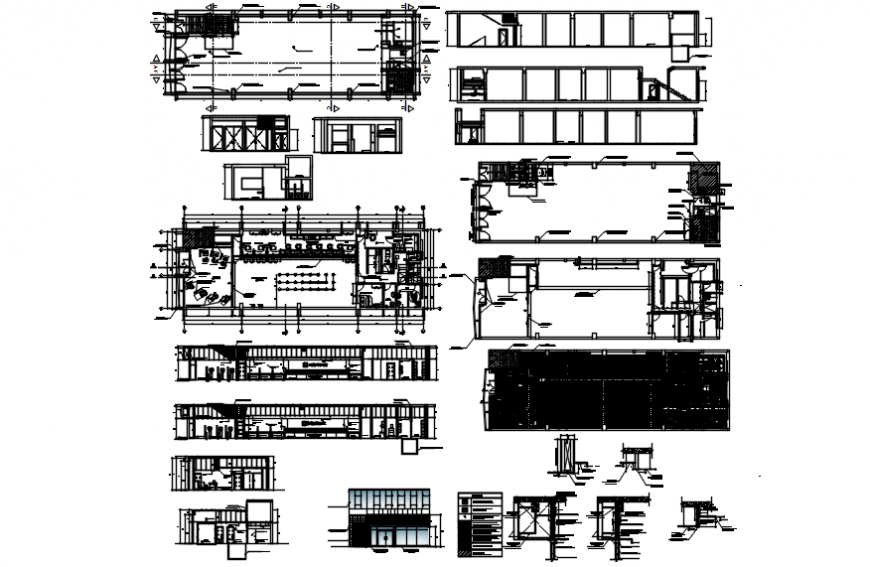 Office area plan and elevation with detail in AutoCAD file