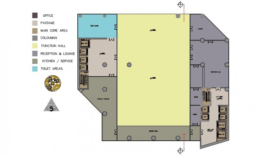 Office area work plan drawings in autocad software