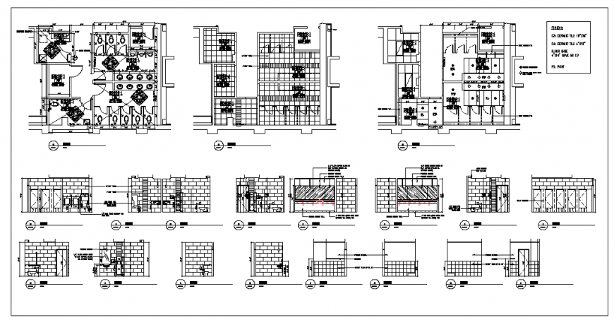 Office building detail elevation and plan dwg file
