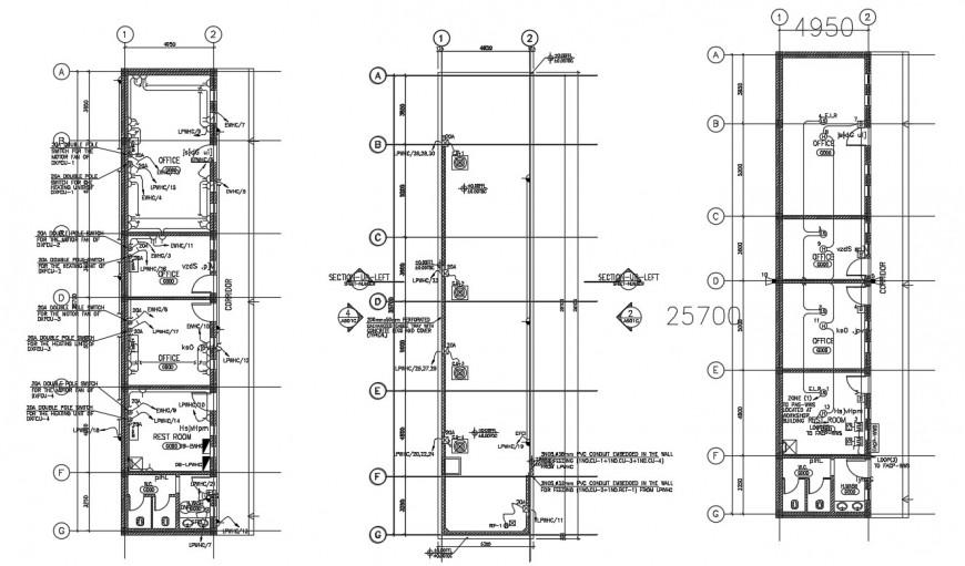 Office building drawings 2d view floor plan dwg file