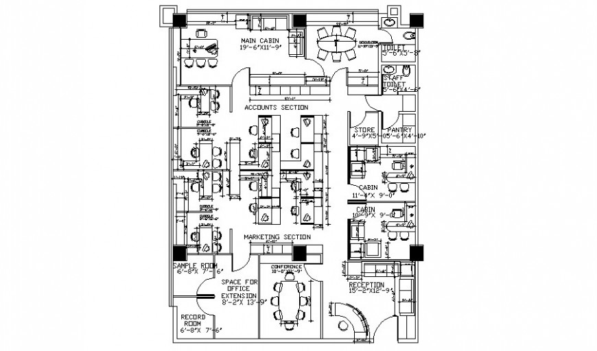 Office building drawings 2d view work plan autocad file