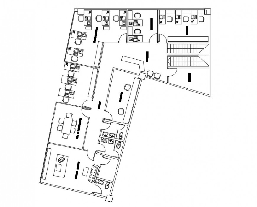 Office building drawings detail 2d view layout plan dwg file