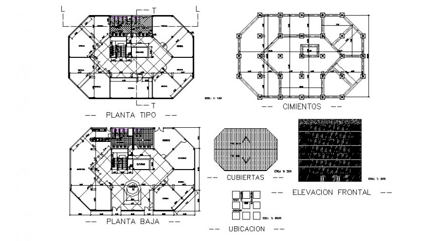 Office building elevation, foundation plan and floor plan cad drawing details dwg file