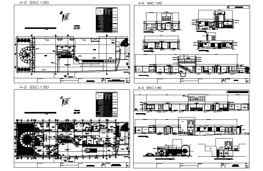 Office building elevation, section, floor plan and auto-cad details dwg file