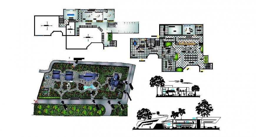 Office building elevation, section, floor plan and landscaping structure details dwg file