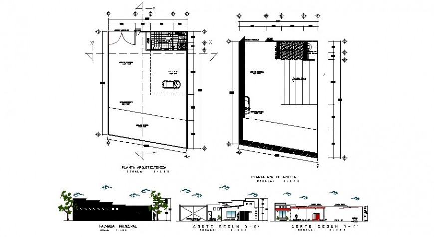 Office building elevation, section, floor plan and structure details dwg file